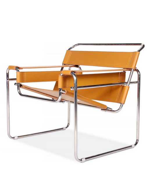 Wassily Chair in Premium Leather Marcel Breuer Style - Onske