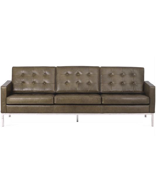 Knoll Style Three Seat Sofa in Aniline Leather - Onske