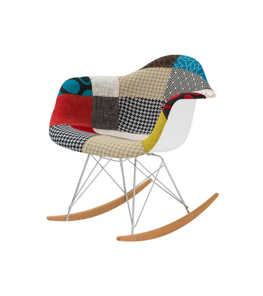 Midcentury Style Rocking Chair in Patchwork - Onske