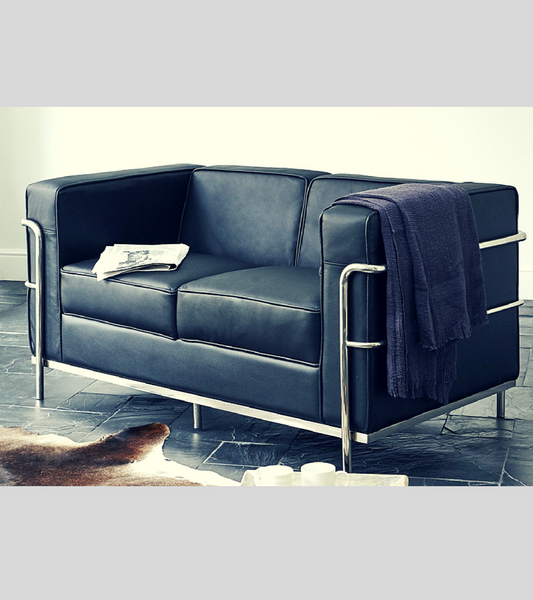 LC2 Corbusier style Loveseat Sofa in premium leather