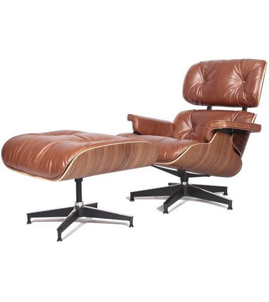 Tan Leather Midcentury Lounge Chair and Ottoman - Onske