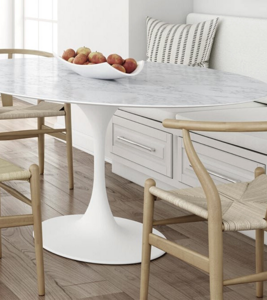 White Carrara Marble Dining Table 150cm oval to seat Six