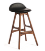 Erik Buch Style Bar Stool in Walnut and Full Leather