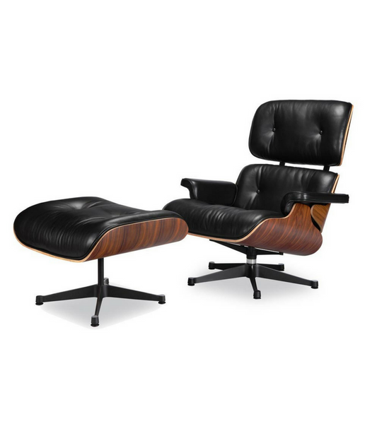 Ultra Luxe full aniline Herman Miller Eames style Lounge Chair and Ottoman