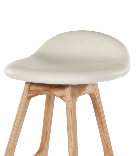 Erik Buch Style Bar Stool Model 61 in American Oak and White Leather