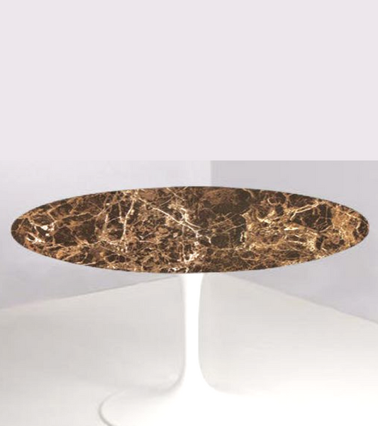 Emperador Brown Marble Tulip Dining Table in Choice of Size - onske-2
