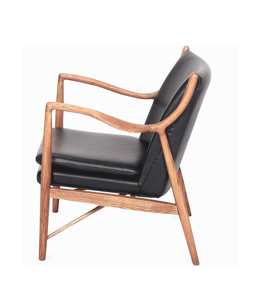 Finn Juhl 45 Style Chair Hardwood and Premium Leather - Onske