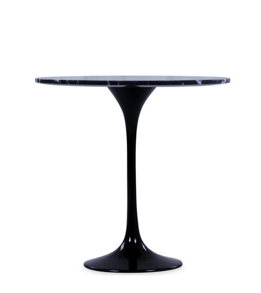 Black Tulip Marble 50cm Round Side Table - Onske