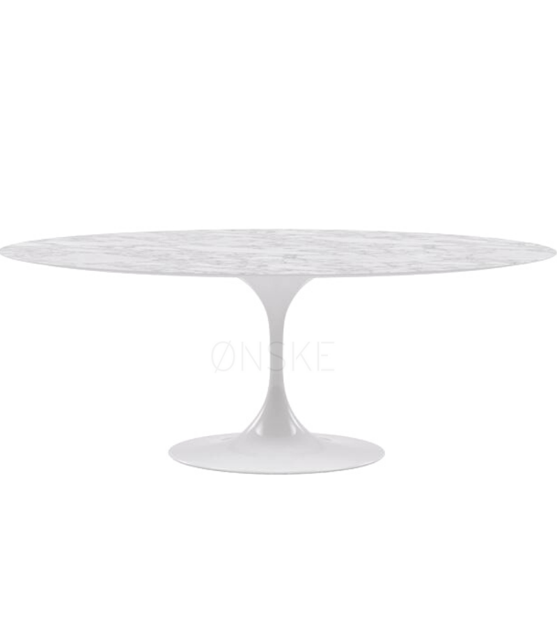 Oval Tulip Carrara Marble Dining Table 200cm To Seat 8 To 10 Onske