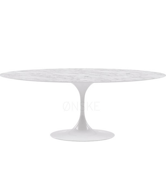 Oval Tulip Carrara Marble Dining Table 200cm to seat 8 to 10