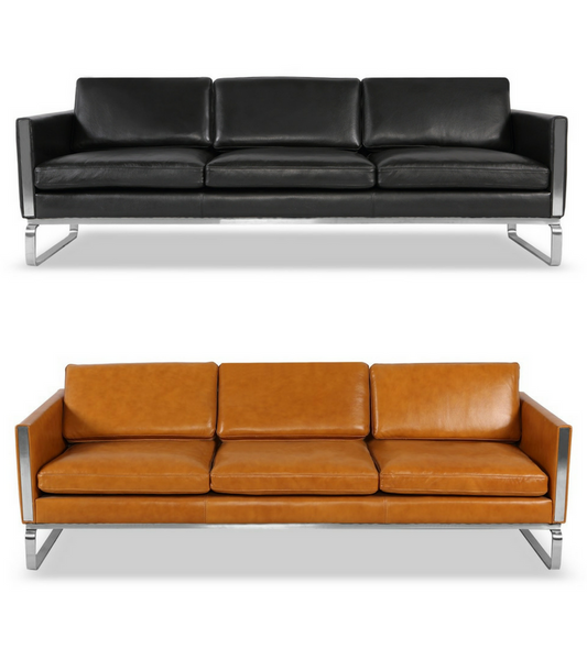 Meridian Sofa in Aniline Leather and Polished Steel - onske-2