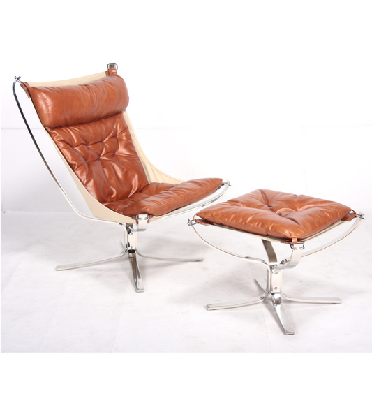Falcon Chair in Steel and Waxed Leather