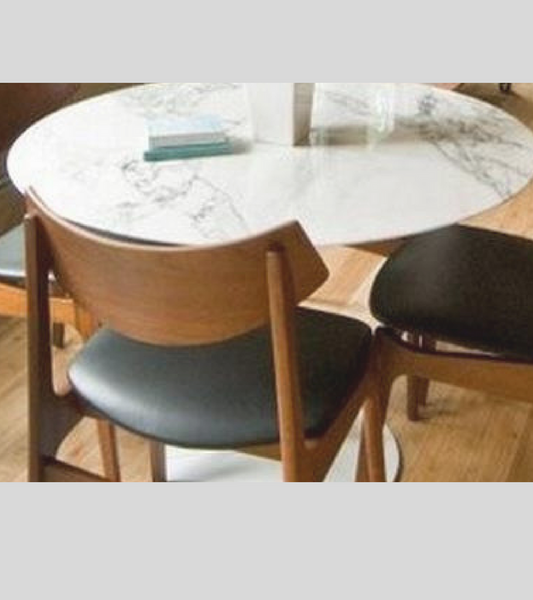 White Carrara Marble Tulip Style Dining Table
