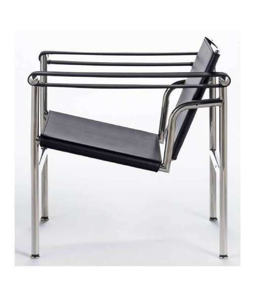 Black Leather LC1 Basculant Chair Corbusier Style
