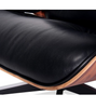 UltraLuxe Lounge Chair and Ottoman Walnut Hardwood Aniline Black Leather