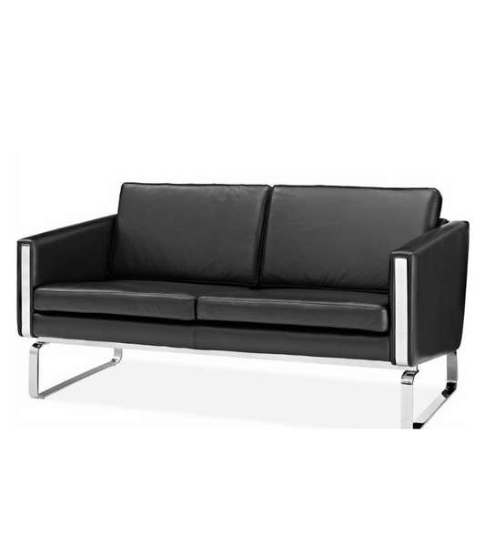 Wegner CH102 Style Two Seat Sofa in Premium Black Leather - Onske