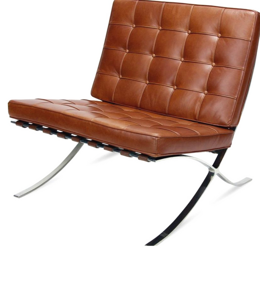 Premium Aniline Leather Barcelona Chair with optional ottoman