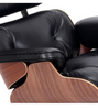 UltraLuxe Lounge Chair and Ottoman Walnut Hardwood Aniline Black Leather - Onske