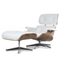 White Italian Leather and Walnut Lounge Chair and Ottoman Eames style - Onske  - 1