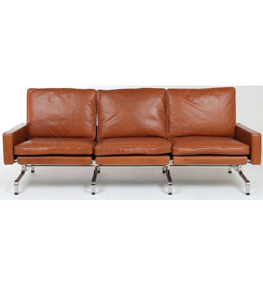 PK31 Style Leather Sofa in the style of Poul Kjaerholm