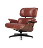 Waxed Aniline Leather Midcentury 670 Style Chair and Ottoman - Onske