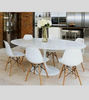 Tulip Style White Gloss Dining Table - Onske