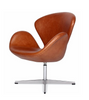 Swan Style Chair in Premium Waxed Leather - onske-2