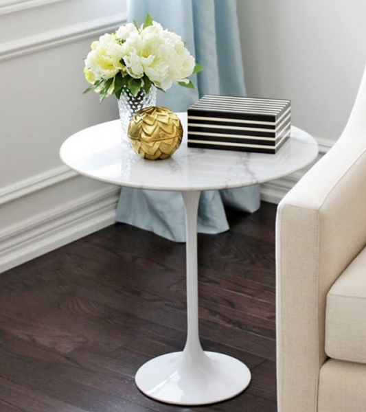 White Marble Tulip Side Table