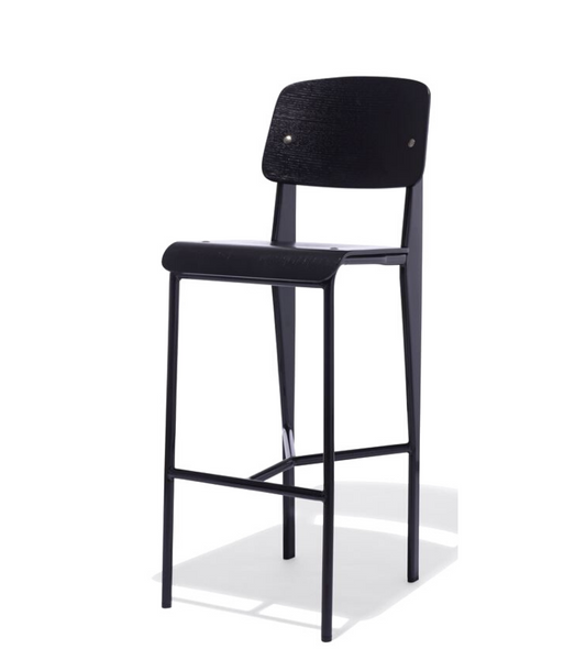 Jean Prouve Style Bar Stool Black Veneer 74cm seat height - Onske