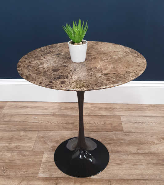 Emperador Brown Marble Lamp Table 50cm round - Onske