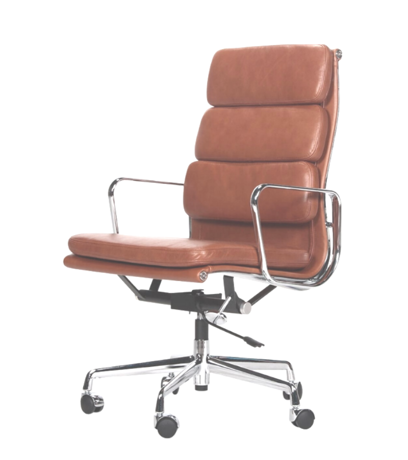 EA 219 Style Executive Office Chair in Waxed Aniline Leather - Onske