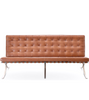 Three Seat Barcelona Van Der Rohe Style Sofa in Premium Leather - Onske
