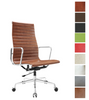 Ribbed High Back Midcentury Style Office Chair in Full Leather - Onske
