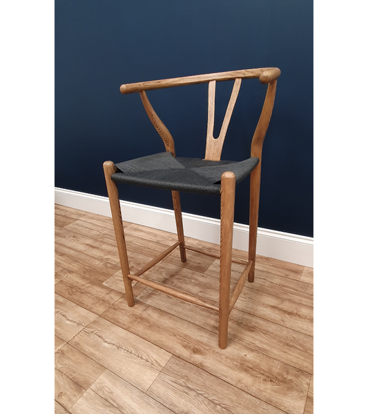 Wishbone Style Counter Stool Walnut Finish Black Cord Seat 64cm - Onske