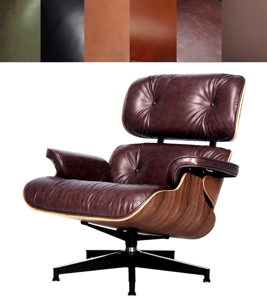 Aniline Leather Midcentury 670 Style Chair and Ottoman - Onske