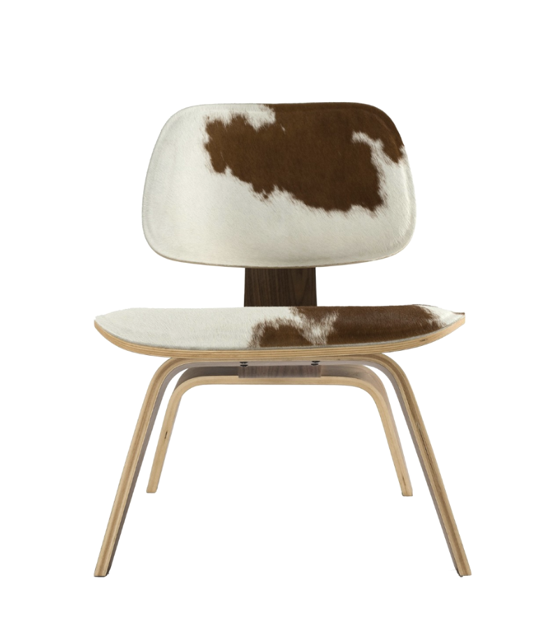L C W Style Chair Brown White Ponyhide with Walnut - Onske