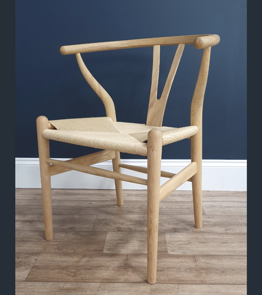 Wishbone Chair Hans Wegner Style Premium Finish Natural Ash - Onske