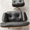 Mid Century Lounge Chair with Ottoman in Italian Leather - Onske