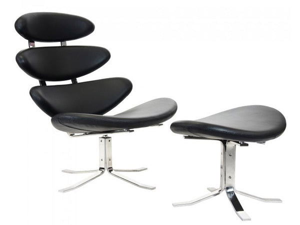 Italian Leather Corona Chair and Ottoman inspired by Volther - Onske  - 1