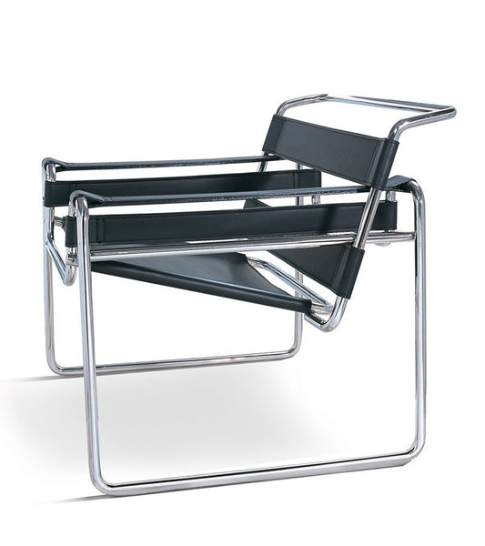 Wassily Model B3 Chair in Italian Saddle Leather Marcel Breuer Style - onske-2