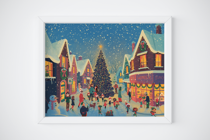 Holiday Village Print unframed art print merry christmas happy holidays decor