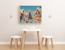 Load image into Gallery viewer, Holiday Village Print unframed art print merry christmas happy holidays decor