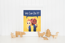 Load image into Gallery viewer, rosie the riveter you can do it empowering empower print unframed fine art girl power wonder bunch apps