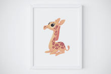 Load image into Gallery viewer, baby giraffe fine art print nursery decor