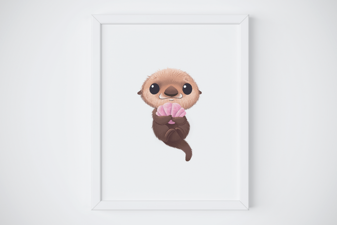 baby otter fine art print nursery decor