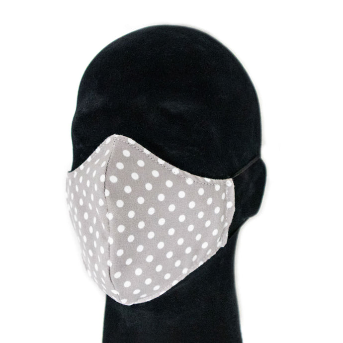 Polka dot Reusable Face Mask Gray White