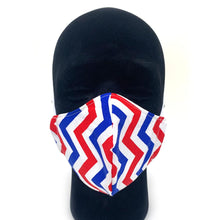 Load image into Gallery viewer, Red White and Blue Zig Zag Reusable Face Mask