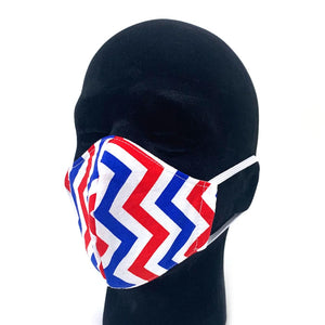 Red White and Blue Zig Zag Reusable Face Mask