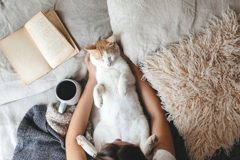 Women laying in bed with her cat on her lap and a coffee and book close by