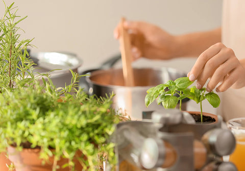 Woman adding herbs to her soup in a sunny kitchen